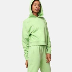 Outdoor Voices Cotton Terry Cropped Jade Hoodie